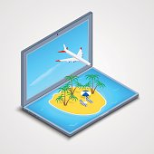 laptop with an island in the sea and an airplane