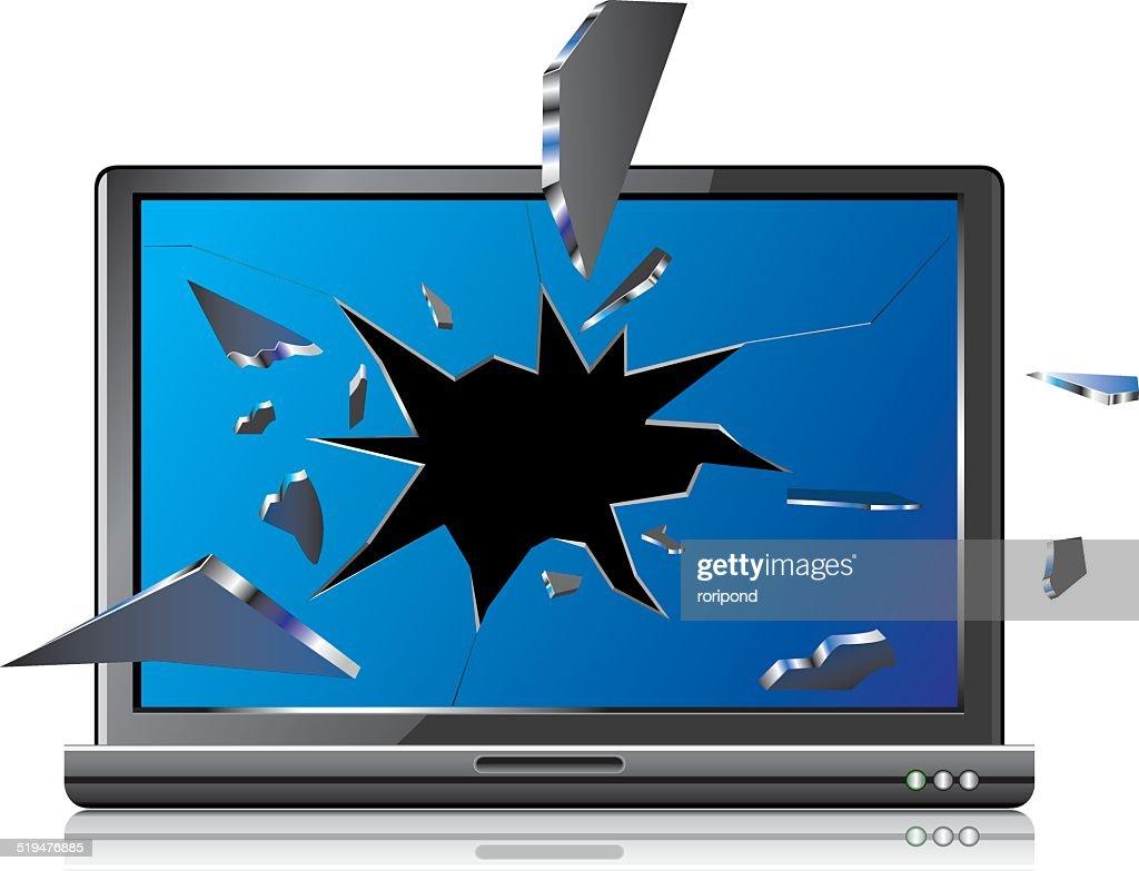 Laptop with broken screen