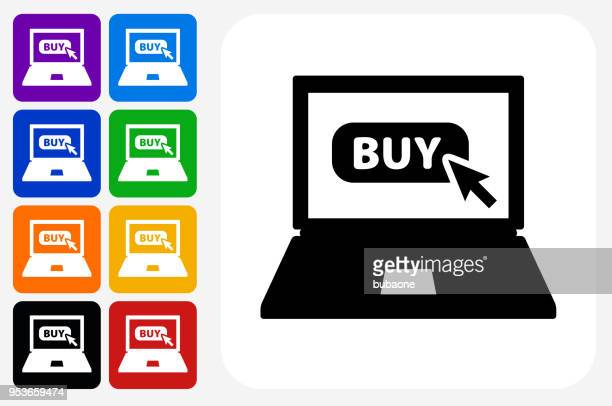Laptop with Buy Sign Icon Square Button Set