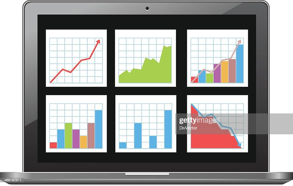 Laptop with chart : stock illustration