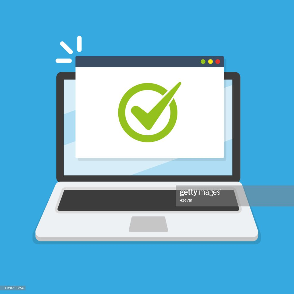 Laptop with checkmark vector illustration, flat design : stock illustration