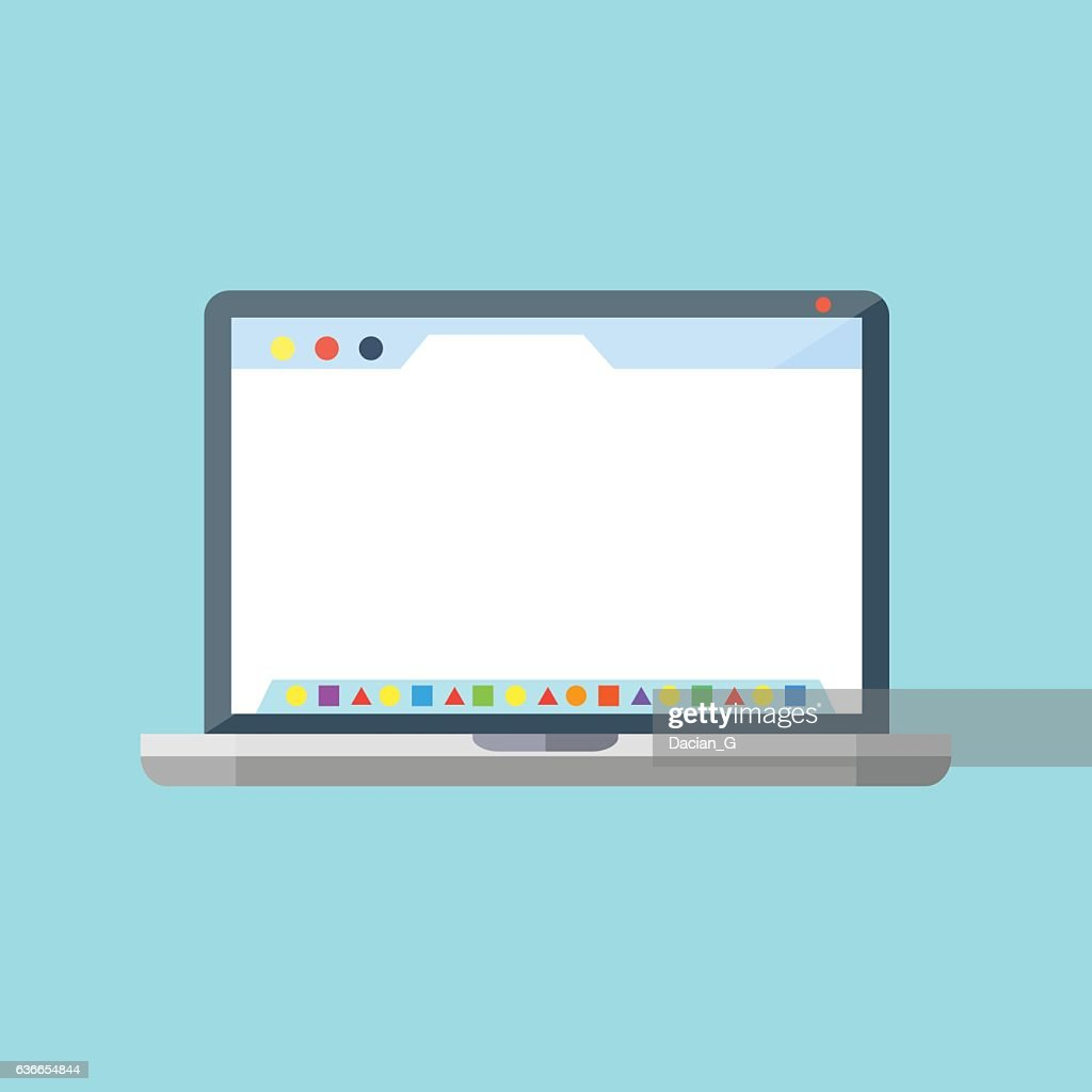 Laptop with dock application launcher and browser.  Vector icon