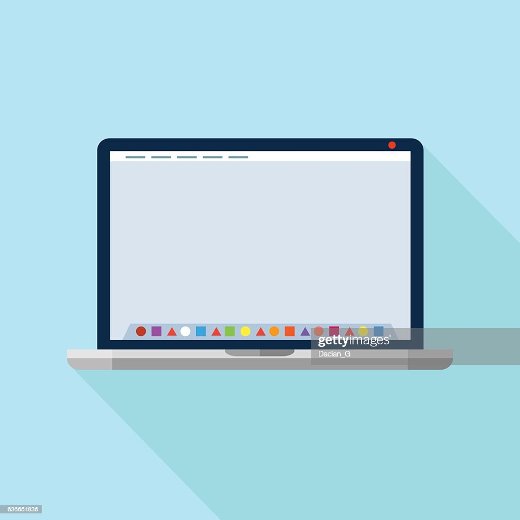 Laptop with dock application launcher. Vector icon