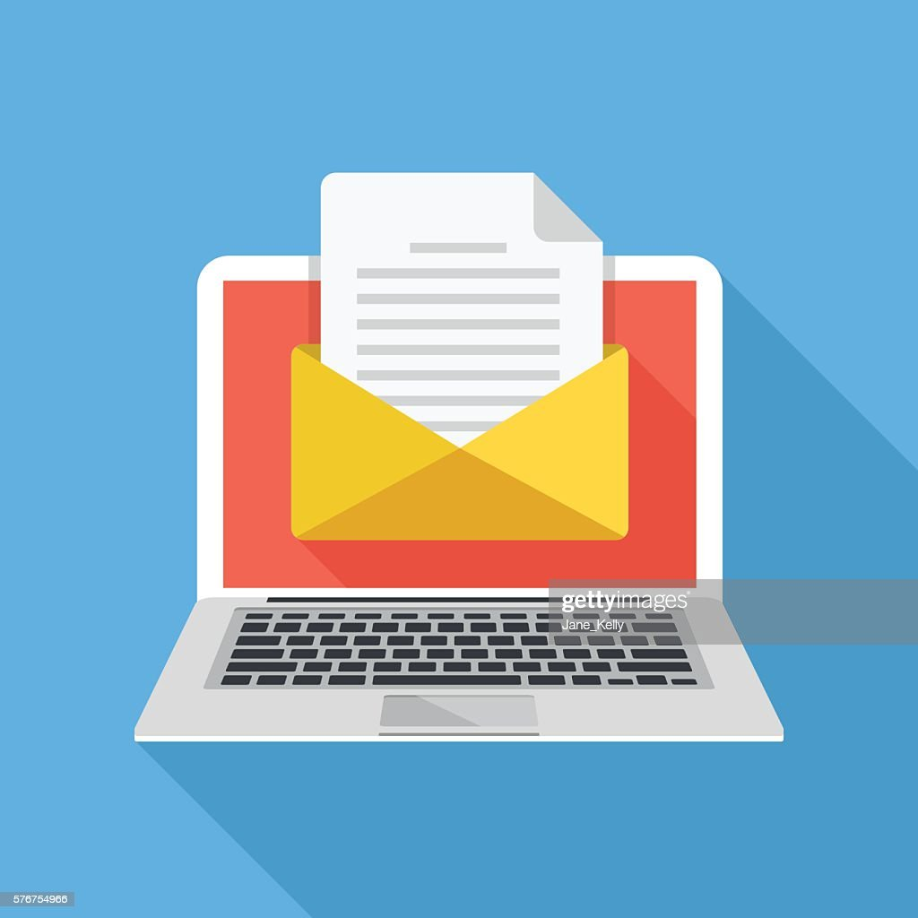 Laptop with envelope and document on screen. E-mail. Flat illustration