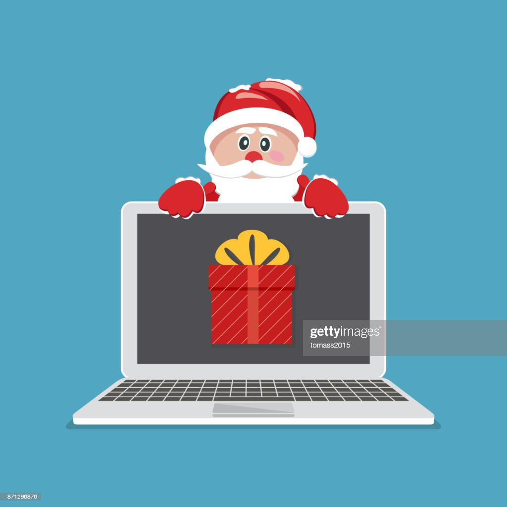 Laptop with gift. Santa Claus giving gift on laptop. Vector Illustration