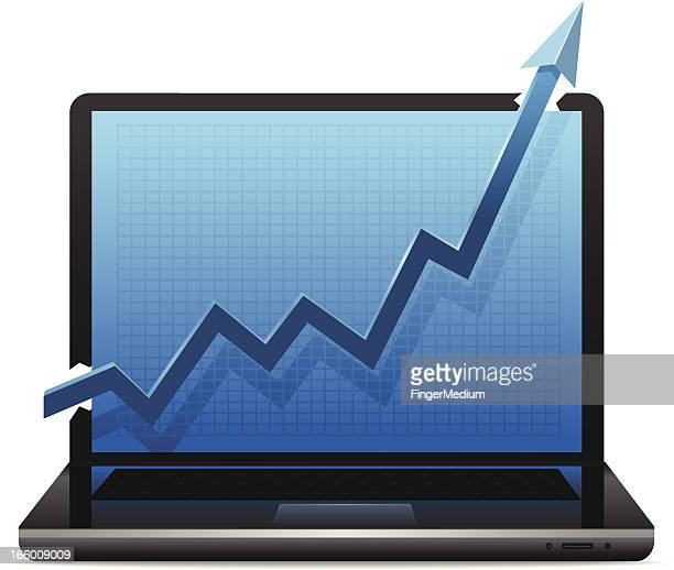 Laptop with Growth chart