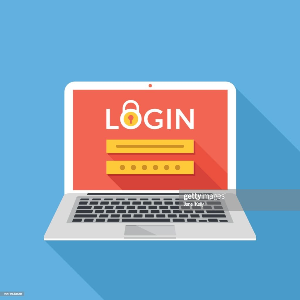 Laptop with login page on screen. Sign in, registration, authorization, enter login and password concepts. Modern graphic flat design vector illustration