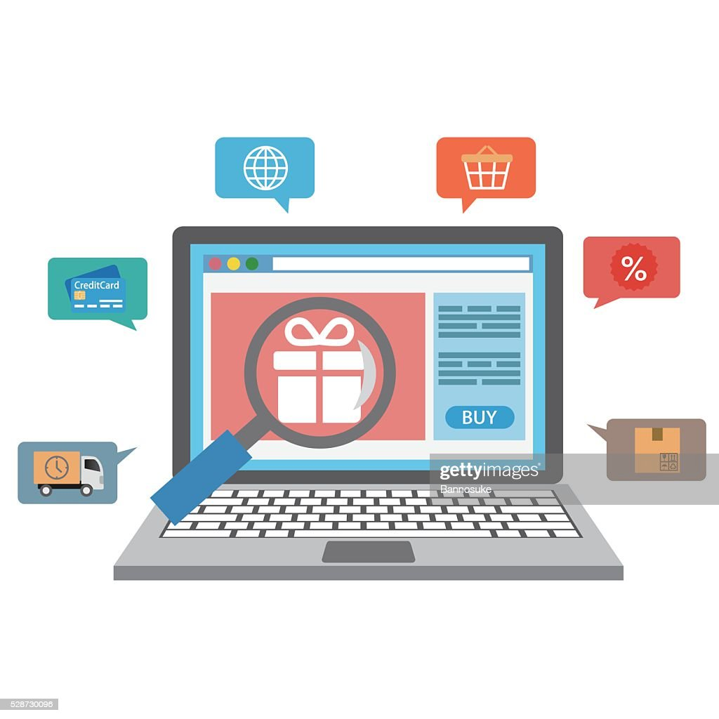 Laptop with online shopping icons