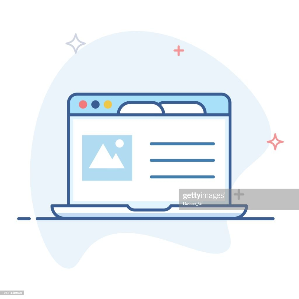 Laptop with open browser line illustration