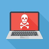 Laptop with skull and crossbones. Modern notebook and skull icon. Virus attack, ransomware, malicious software, hacker attack concepts. Long shadow design. Modern flat design vector illustration