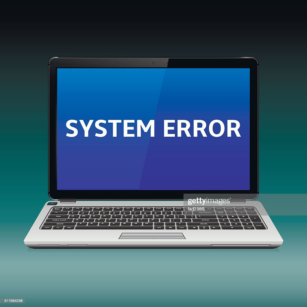 Laptop with system error message