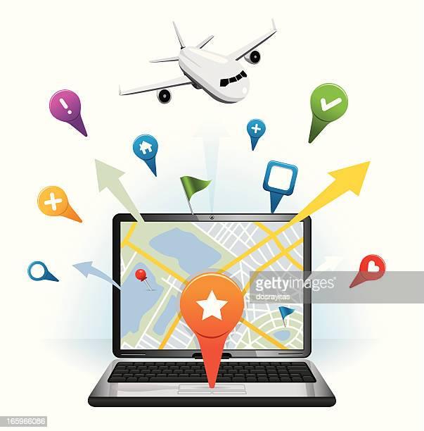 ノートパソコンと旅行、gps のアイコン - ウェブ2.0点のイラスト素材/クリップアート素材/マンガ素材/アイコン素材