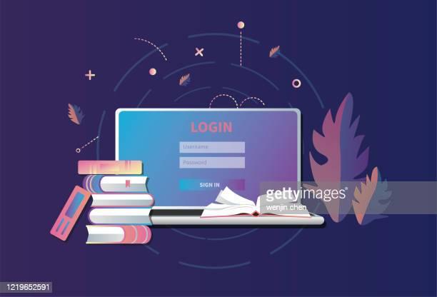 bildbanksillustrationer, clip art samt tecknat material och ikoner med bärbara datorer och böcker, datorbibliotek - litteratur