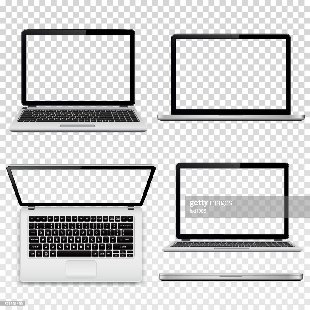 Laptops with transparent screen isolated on transparent background