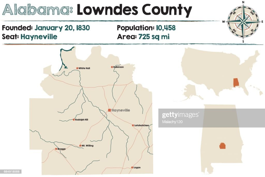 Large and detailed map of Lowndes County in Alabama