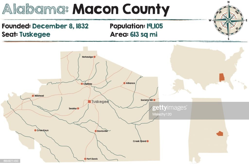 Large and detailed map of Macon County in Alabama