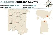 Large and detailed map of Madison County in Alabama