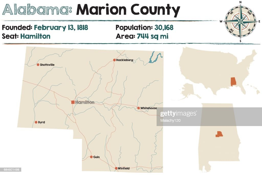 Large and detailed map of Marion County in Alabama