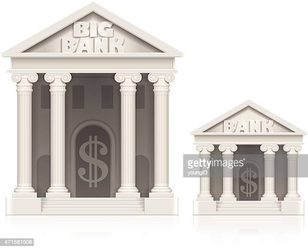 Large and small bank building icons