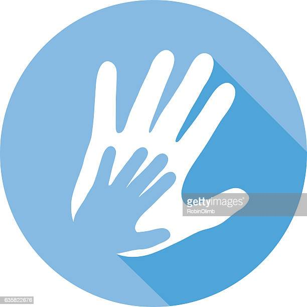 large and small hands icon - erwachsene person stock-grafiken, -clipart, -cartoons und -symbole