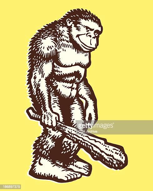 large ape holding a club - caveman stock illustrations