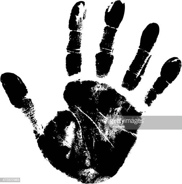large black handprint on white paper - human hand stock illustrations