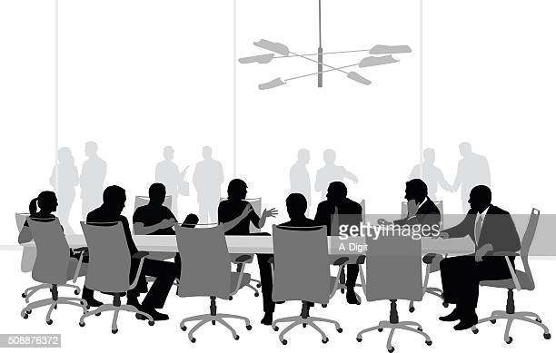 large boardroom business meeting - conference table stock illustrations, clip art, cartoons, & icons
