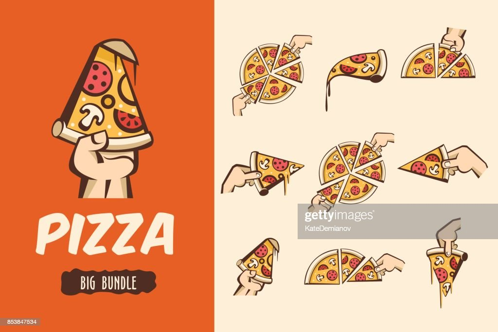 Large bundle pizza. Vector symbols, illustrations for cafes pizzerias. The pieces of pizza in his hand.