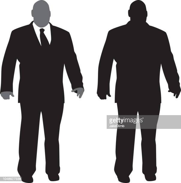 large businessman silhouette - balding stock illustrations