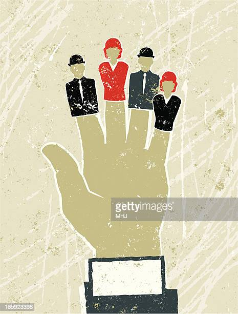 large businessman's hand with business men and women finger puppets - exploitation stock illustrations, clip art, cartoons, & icons