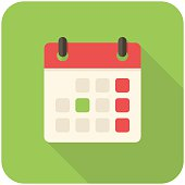 A large calendar icon on a green background