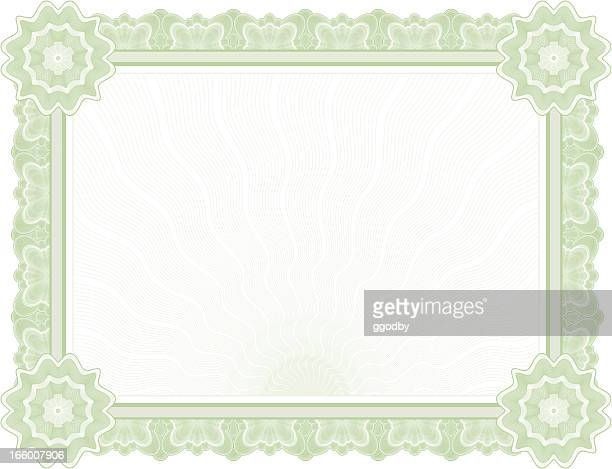 large certificate - diploma (green variant) - legal document stock illustrations, clip art, cartoons, & icons
