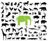 Large collection of geometrically stylized land animal icons.