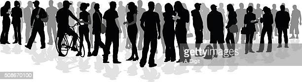 large college crowd of silhouette students - young adult stock illustrations, clip art, cartoons, & icons
