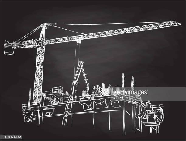 large construction crane chalk - commercial real estate stock illustrations