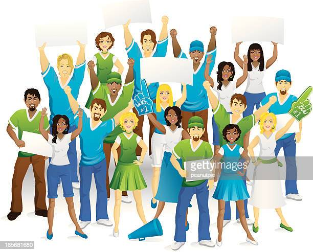 large crowd of fans - pep rally stock illustrations, clip art, cartoons, & icons
