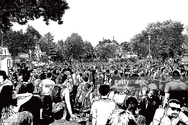 large crowd of unrecognizable people enjoying festival - agricultural fair stock illustrations, clip art, cartoons, & icons