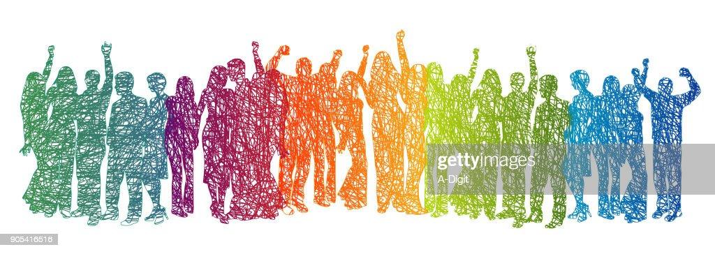 Large Crowd Rainbow Scribble : stock illustration