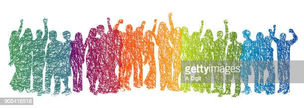 large crowd rainbow scribble - togetherness stock illustrations