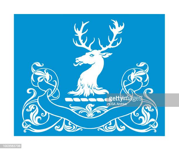 large deer head and ribbon ornament - stag stock illustrations