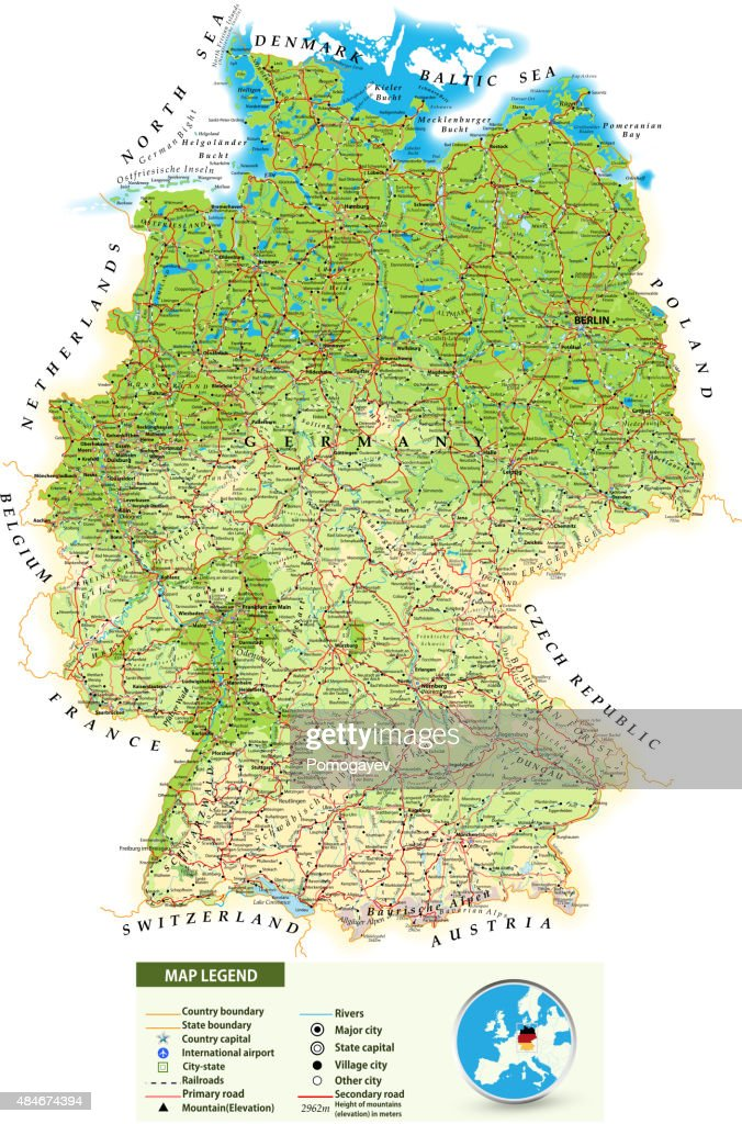 Large Detailed Road Map Of Germany Vector Art   Getty Images
