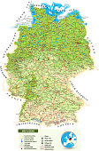 Large detailed road map of Germany