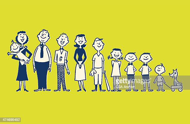 large family - joy stock illustrations