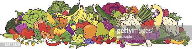 large fruit & veggie group, illustration - marrom stock illustrations