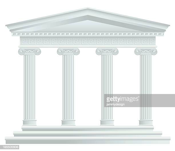 stockillustraties, clipart, cartoons en iconen met large greek/roman temple - classical greek style