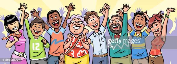 large group of people celebrating - applauding stock illustrations, clip art, cartoons, & icons