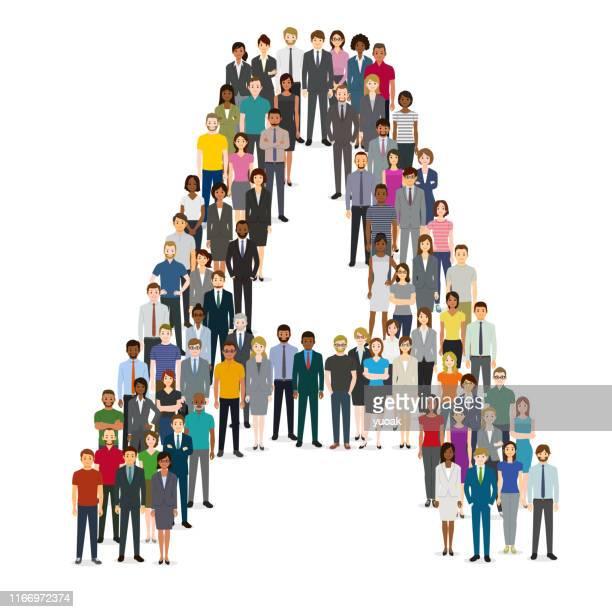 große gruppe von menschen, die sich in buchstabe a versammeln - große personengruppe stock-grafiken, -clipart, -cartoons und -symbole
