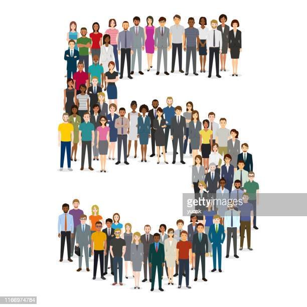 large group of people gathering in number five 5 - political crowd stock illustrations