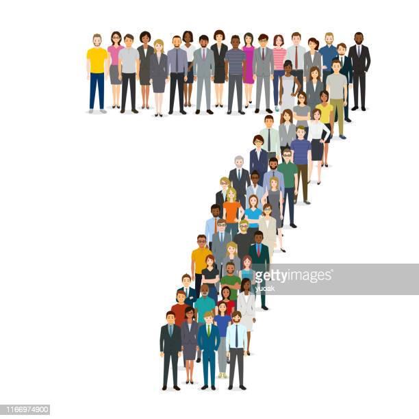7番に集まる大勢の人たち 7 - 数字の7点のイラスト素材/クリップアート素材/マンガ素材/アイコン素材