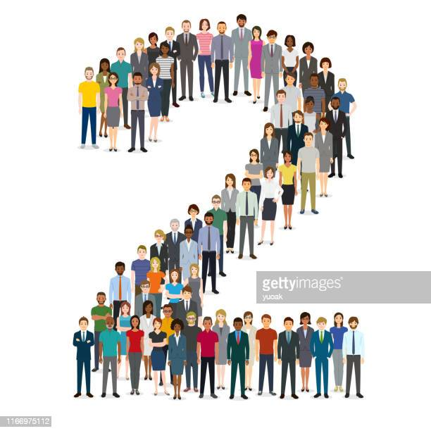 large group of people gathering in number two 2 - number 2 stock illustrations